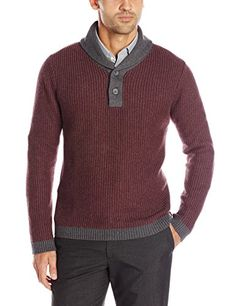 Nautica Men's Twisted Stitch Shawl Collar Sweater in Burgundy/Charcoal Heather by GuyGifter makes a handsome Valentines gift. Shawl Collar Sweater, Men Sweater, Men's Outfits, Honeycomb, Valentine Gifts, Ravelry, Charcoal, Burgundy, Christmas Gifts