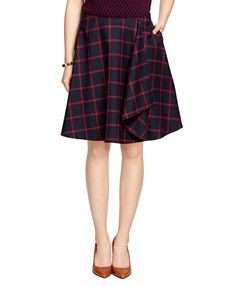 Women's Red Fleece Navy and Red Flowy Windowpane Skirt | Brooks Brothers