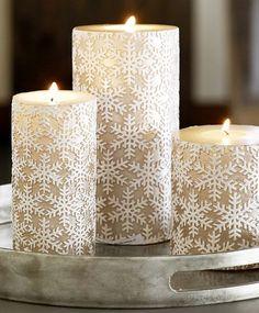 Snowflake pillar candles. So festive!
