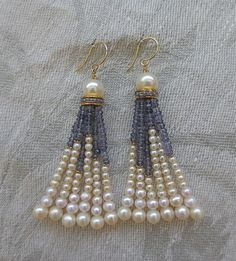 Pearl and Iolite Tassel Earrings by Marina J Jewelry