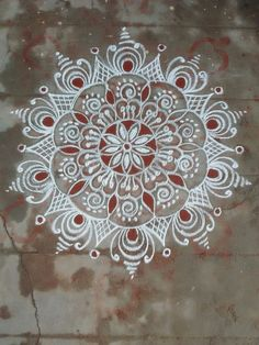 Image result for simple chalk art Rangoli Patterns, Rangoli Ideas, Rangoli Designs Diwali, Rangoli Designs Images, Rangoli Designs With Dots, Kolam Rangoli, Beautiful Rangoli Designs, Indian Rangoli, Diwali Special Rangoli Design