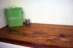 Using tongue & groove flooring to make a wood counter top.