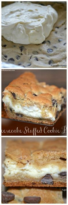 Cheesecake Stuffed Cookie Bars - Hugs and Cookies XOXO - sweets - Chocolate Chocolate Chip Cheesecake, Cheesecake Bars, Cheesecake Recipes, Cookie Recipes, Dessert Recipes, Chocolate Chips, Blackberry Cheesecake, Chocolate Recipes, Just Desserts
