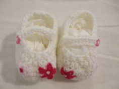 Crocheted Shoes with Pink Embroidered Flowers