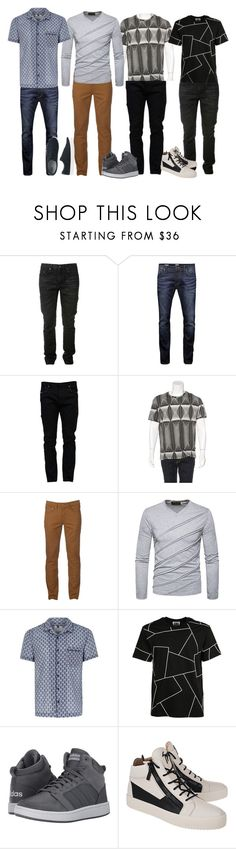 """""""5"""" by apduyer ❤ liked on Polyvore featuring Yves Saint Laurent, Jack & Jones, Valentino, Just Cavalli, Urban Pipeline, Topman, Les Hommes, adidas, Giuseppe Zanotti and Uniqlo"""