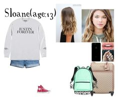 """Sloane//1-25-17//Evening Flight To Los Angles"" by dream-families ❤ liked on Polyvore featuring H&M, Converse, Gucci and TheLloydFamily"