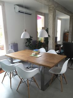 Mesa comedor industrial | Woodies Ikea, Dining Table Legs, Steel Furniture, Luxury Interior, Interior Design Living Room, Home And Living, Decoration, Kitchen Decor, Sweet Home