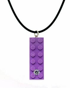 Lego Pendant  Lavender 2x6 Lego  Swarovski Gems  Hand by UBrickIt, $15.00