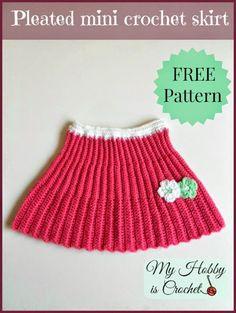 My Hobby Is Crochet: Pleated Mini Crochet Skirt, Toddler Size - Free Crochet Pattern Skirt Pattern Free, Crochet Skirt Pattern, Crochet Skirts, Free Pattern, Crochet Gratis, Free Crochet, Knit Crochet, Baby Knitting Patterns, Crochet Patterns