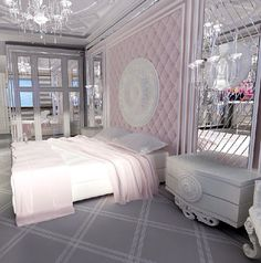 Lovely Bedroom Amazing Furniture mirrored wall. Pink grey/gray and white