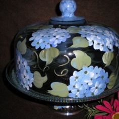 HAND PAINTED BLUE HYDRANGEA CAKE PLATE/ PUNCH BOWL