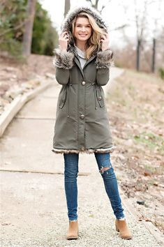 5559022a3b764a Olive Hooded Faux Fur-Lined Knee-Length Coat