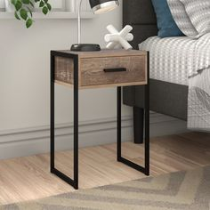 Bedside, Nightstand, Small Spa, Steel Frame, Family Photos, Compact, Minimalism, Drawers