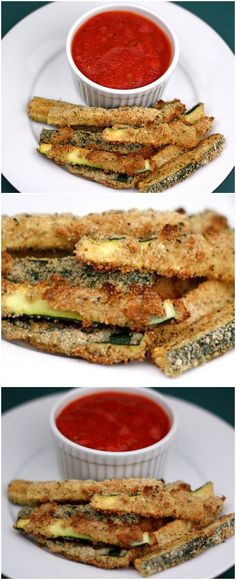 Baked Zucchini Fries Recipe on twopeasandtheirpod.com LOVE these healthy fries! #zucchini