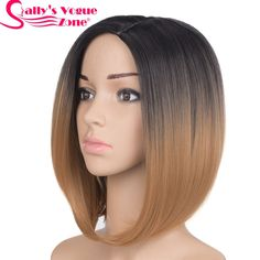 Cheap wigs for women, Buy Quality wig wig directly from China wig color Suppliers: Sallyhair Middle Part Japanese High Temperature Fiber Synthetic Short Ombre Black Blonde Color Bob Wig For Women Grey Blonde Hair, Blonde With Pink, Brown To Blonde, Blonde Ombre, Blonde Color, Hair Color, Dark Blonde, Bob Cut Wigs, Short Bob Wigs