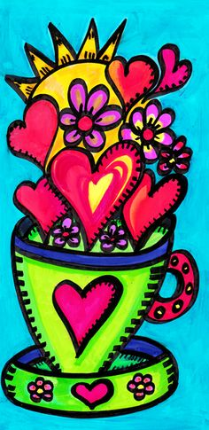 Flowers and Dreams main page Spring Projects, Art Projects, Coffee Cup Art, Decoupage, Valentines Art, Naive Art, Love Painting, Retro Art, Whimsical Art
