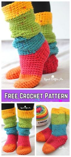 Crochet Women Rainbow Slouchy Slippers Socks Free Crochet Pattern by sheila. If you love to crochet some house scrochinglippers for your family, you will love to check out Crochet Women Slippers Shoe Patterns Round Up. Andnow I am going to crochet th Crochet Boots, Crochet Slippers, Crochet Clothes, Crochet Poncho, Diy Crochet Shoes, Diy Clothes, Crochet Sock Pattern Free, Free Pattern, Pattern Ideas