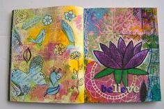 My second Art Journal work on Believe...If you believe you live. Using Gelli plate (Left plate Ghost print and lotus (hand made stencil) with Gelli plate) and water color.Hope you like it.