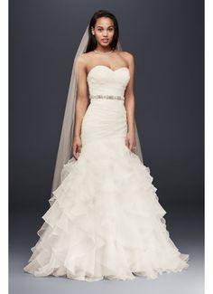 Organza Mermaid Wedding Dress with Ruffled Skirt WG3832