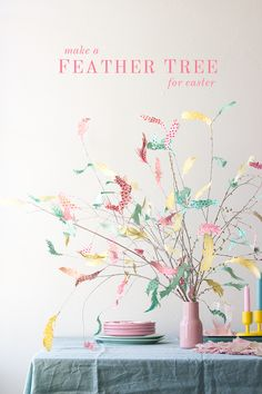 //DIY Swedish Paper Feather Easter Tree Tutorial