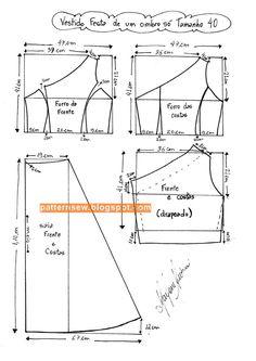 باترون مفصل لفستان زفاف مقاس 36 - 50 - Pattern Sewing