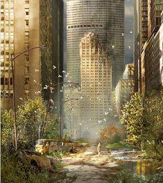 """apocalyptic city - """"et au milieu, coule une riviere"""". Apocalypse World, Apocalypse Art, Apocalypse Landscape, Arte Sci Fi, Sci Fi Art, Fantasy World, Fantasy Art, Post Apocalyptic City, Abandoned Cities"""