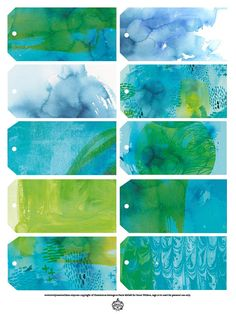 Blue Wash Gift Tags  Digital Download Set of by lovelysweetwilliam