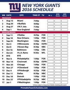 1032310d8 2016-17 New York Giants Schedule New York Giants Schedule
