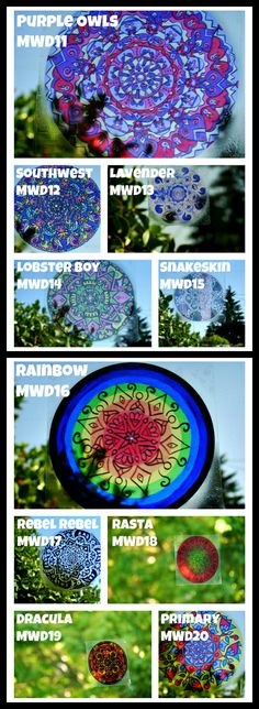 Mandala Window Decals - Set of Three - Geometric Designs to Peel and Stick - Choose Your Colors. $5.00, via Etsy.
