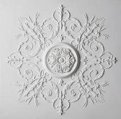 French Floral Decorative Plaster Ceiling by Stevensons of Norwich Ltd Plaster Ceiling Design, Bedroom False Ceiling Design, Plaster Walls, Plaster Art, Floor Ceiling, Ceiling Rose, Ceiling Decor, Cornice Moulding, Panel Moulding