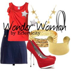 Inspired by Wonder Woman of DC Comics. Marvel Dc, Dc Comics, Movie Outfits, Wonder Woman, Cosplay, Polyvore, Inspiration, Image, Inspired