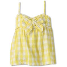 United Colors of Benetton Kids Girls' Gingham Tank Top w/ Bow... ($27) ❤ liked on Polyvore featuring kids, baby, baby girl, children, girls and shirts & tops