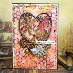 #Cre8time for #mixedmedia and a steampunk heart be mine theme. #Stampendous #DecoArt