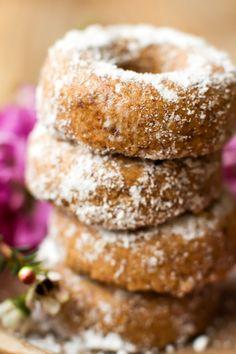 Mini Powdered Vegan Baked Donuts. No added sugar