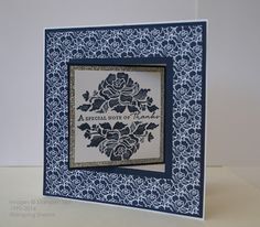 Stamping Shanni: Fancy Folds - Lever Cards. Floral Phrases stamp set, thick Whisper White card stock, Night of Navy card stock, Floral Bouquet DSP, Silver card stock, Square framelits.