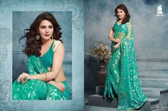 Designer wear georgette saree collection only at Rs.1550 http://www.thefirstbazaar.com/product/tfb-sahiba-green-brasso-georgette-saree-ak211/ #fashion #india #women #saree #georgettesaree #thefirstbazaar