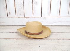 On Sale 15% off  - Vintage light tan brown woven straw Fiesta Santa Barbara hat/mens cigar smoking rattan hat/gardening farming sun hat by GreenCanyonTradingCo on Etsy