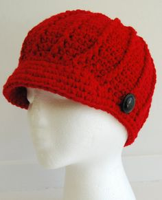 Red Brimmed Hat Crocheted with Button Crochet by mladycollection, $32.00