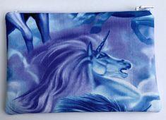Unicorns Zipper Pouch: Mythical Creatures, Pegasus, Clouds.