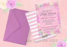 Girly Vintage Lilac Pink Roses Baby Shower Custom Announcements from Zazzle.com
