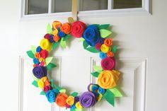 Super colorful spring/summer felt flower wreath