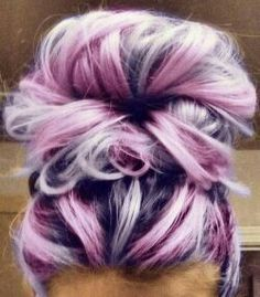 Messy bun with an awesome color twist!!