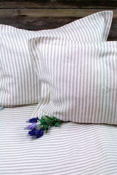 TWIN size SET Pure Linen Stripped Duvet Cover 150x200 cm (60x80), pillow case 50x70 cm (20x28) via Etsy