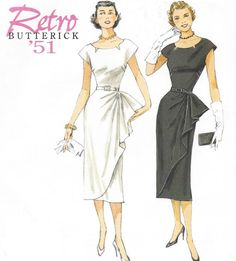 Retro 50s Womens Dress with Side Overlay Butterick by CloesCloset