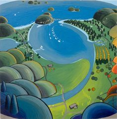 Original Artwork Around a Round Tairua Ron Galloway  #landscape #fineart