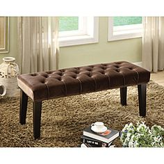 @Overstock - This well designed contemporary Bellen bench features amazing button tufted craftsmanship, and incredible feeling of comfort with its dark copper padded fabric. The bench would be perfectly accent the decor of your home with its stand-out style.http://www.overstock.com/Home-Garden/Bellen-Button-Tuft-Bench/6605234/product.html?CID=214117 $168.99