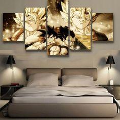 Goku and Vegeta 5 Panel Canvas Wall Art Home Decor