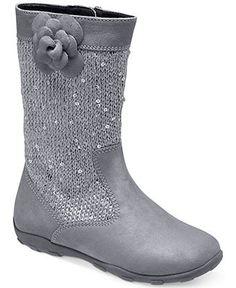 Stride Rite Girls Mira Navy Textile Fashion Zipper Boots Toddler Size 6 9.5