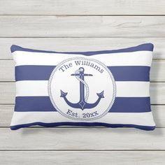 Nautical Anchor Navy Blue Stripes Family Monogram Lumbar Pillow - tap, personalize, buy right now! #LumbarPillow  #nautical #anchor #nautical #decor #navy Nautical Stripes, Nautical Anchor, Blue Stripes, Navy Blue, Blue And White, Nautical Bedding Sets, Nautical Pillows, Nautical Gifts, Lumbar Pillow