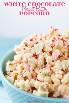 This White Chocolate Peanut Butter Popcorn is a perfect Valentine's Day treat! A blend of white chocolate, peanut butter, peanuts, and Reese's Chocolate!